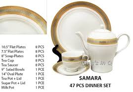 VERSACE DESIGN 47PCS SAMARA DINNER SET BY MILANO COLLECTION FOR 8 PEOPLE  SETTING