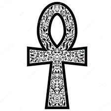 анкх крест с цветочными элементами в стиле черно белые татуировки