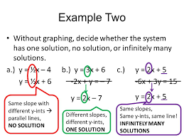 example two without graphing decide whether the system has one solution no solution