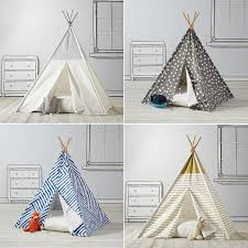 I love the idea of a kid's indoor teepee. The Land of Nod has some really  cutely designed ones, with both simple and busy fabric. Now that Parker and  Logan ...