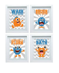 kids bathroom wall decor. Monster Bathroom Decor Rules Kids Art Pertaining To Most Up Date Wall E