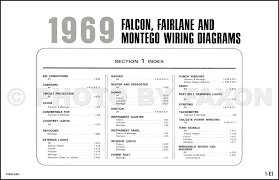1969 ford wiring diagram original falcon fairlane torino ranchero table of contents page