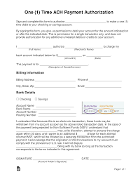 Automatic Withdrawal Form Template Free One 1 Time Ach Payment Authorization Form Word