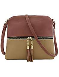 Lightweight Colorblock Medium Crossbody Bag with Tassel