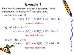 example 1 find the discriminant for each equation