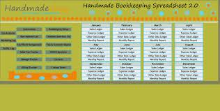 Handmade Bookkeeping Spreadsheet 2 0 Number One Selling