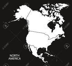 北アメリカ国地図白黒イラスト
