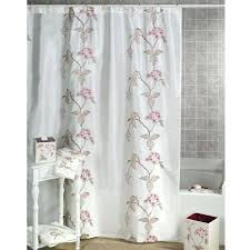 frightening white shower curtain with red cherry blossom pattern on white steel rod and grey tiles
