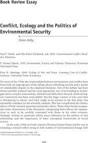 Book Review Essay Conflict Ecology And The Politics Of