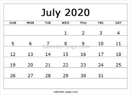 Print Free Monthly Calendar 2020 July Printable Calendar