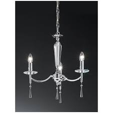 hera chrome faceted crystal glass 3 light chandelier