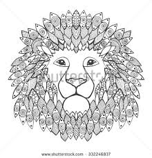 Small Picture Lion Head Adult Antistress Coloring Page Stock Vector 332246837