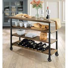 whalen santa fe portable kitchen cart with wine rack rustic brown com