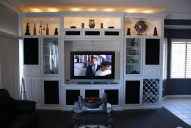 Built in white wall unit in Las Vegas. White TV stand ...