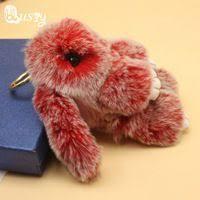 14-<b>15cm Bunny Keychain</b> Two Tone Real <b>Rabbit Fur</b> Pompon Pom ...
