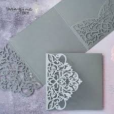 Wedding Invitation Folder Wisteria Laser Cut Pocket Fold Wedding Invitation In Grey