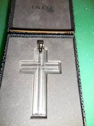lalique authentic rare vintage crystal clear cross signed pendant w box 1818017643