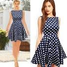 Синее платье в горошек с чем носить 170