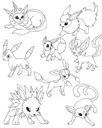 Pokemon Coloring Pages Eevee Evolutions Together Coloring Pages