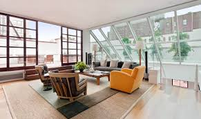 Living Room:Fascinating Loft Living Room With Double Skylight Windows Also  Colorful Furnishings Airy Apartment