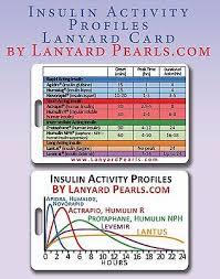 Insulin Amount Chart Insulin Dose Activity Chart Pvc Lanyard Badge Card Ebay