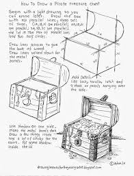 how to draw worksheets for the young artist how to draw a pirate trere chest worksheet