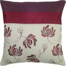 PLUM CREAM EMBROIDERED FLORAL VOILE CUSHION COVER TO MATCH CURTAINS #NOSDUH