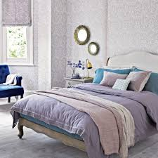 Lilac Bedroom Wallpaper Lavender And Lilac Bedroom With Patterned Wallpaper Ideal Home