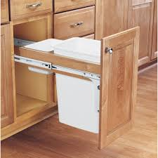 D Single Pull-Out Top Mount Wood and White Waste Container for 1-3/Face  Frame-4WCTM-12DM1-175 - The Home Depot