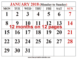 12 month free printable calendar 2018 for free download 12 month 2018