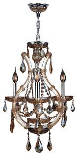 lyre 4 light chrome finish and amber crystal chandelier 16 d x 26
