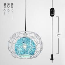 ball pendant lighting. Kiven Plug-In Handmade Rattan Ball Pendant Lamp 15 Foot Black Cord With On/ Lighting
