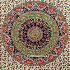 twin indian multicolor bohemian mandala cloth fabric throw tapestry wall hanging