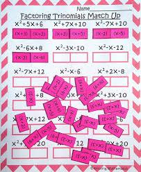 great factoring trinomials practice for my algebra students