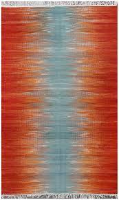 rugsville turkish modern orange blue flatweave wool rug 150 x 240