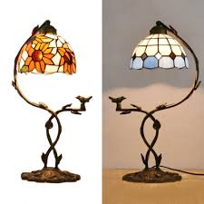 rustic bronze table light grid sunflower 1 light stained glass night light with bird for