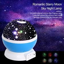Outer Space Light Projector 4led Moon Sky Night Lamp Projector Kid Room Rotate Blue
