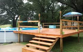 if you re installing an above ground pool you ll probably want a deck to accompany it the deck will give you a place to lay your towels and also keep you