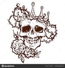 Lebka Diadém Korunu Trní Mrtvé Goth Tetování Vektorové Skici