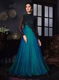 Satin Silk Dress Designs Teal Satin Silk Party Wear Gown 80629 Gown Party Wear
