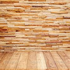 Brick Wall With Wooden Floor Background Texture  Stock Photo