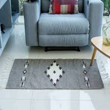 handwoven natural undyed grey wool zapotec rug 2 x 3 grey star