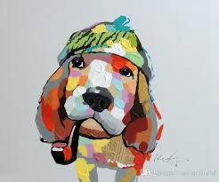framed basset hound dog portrait mixed a pop art oil painting pure handpainted modern abstract decor wall canvas multi sizes available j by