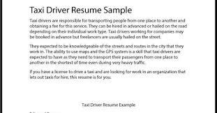 Driver Sample Cv Taxi Driver Resume Www Sfeditorwatch Com