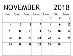 Blank Calendar Excel Printable November 2018 Blank Calendar Pdf Excel