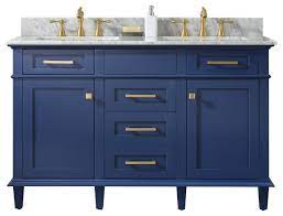 54 Blue Finish Double Sink Vanity Cabinet Carrara White Top Transitional Bathroom Vanities And Sink Consoles By Legion Furniture Houzz