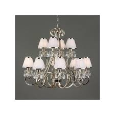 oksana 12 light chandelier in polished nickel with white shades