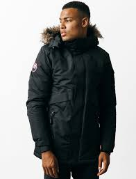 cameron parka coat with fur trim hood in black tokyo laundry