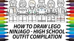 How to draw Lego Ninjago Movie minifigures - High School Outfit compilation  - YouTube