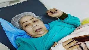 فاطمة كشري تشكو حالها بعد وقوعها ضحية خطأ طبي جراء ترك الشاش داخل بطنها بعد  خضوعها لـ عملية الفتاق